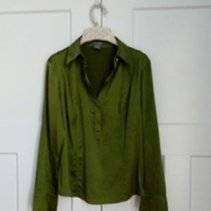 ANN TAYLOR GREEN SILK BLOUSE